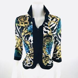 Joseph Ribkoff Floral 3/4 Sleeve Zip Jacket Sz 6